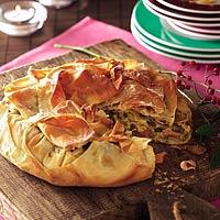 Krokante champignontaart met gerookte kip